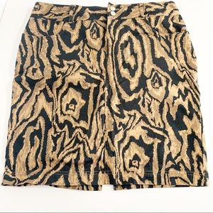 Chaps black and brown animal print pencil skirt